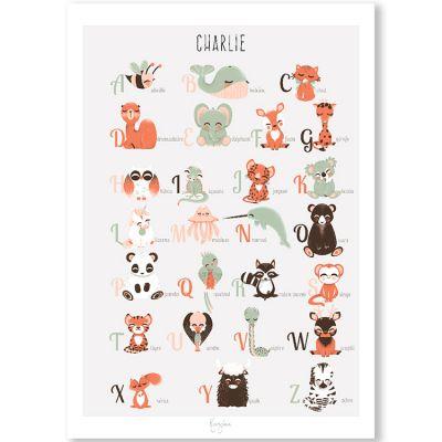 Affiche A4 abécédaire des animaux français (personnalisable)  par Kanzilue