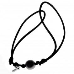 Bracelet cordon perle de Tahiti et motif au choix (argent 925°)