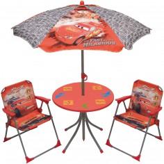 Ensemble table et chaises avec parasol Cars (4 pièces)