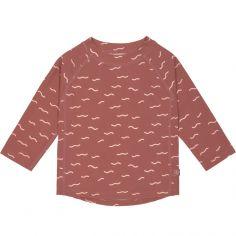 Tee-shirt anti-UV manches longues Vagues bois de rose (24 mois)