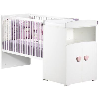 Lit bébé combiné évolutif New Basic Boutons coeur roses (60 x 120 cm)  par Baby Price