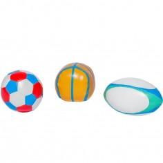 Lot de 3 balles souples Mes Premières balles de Sport