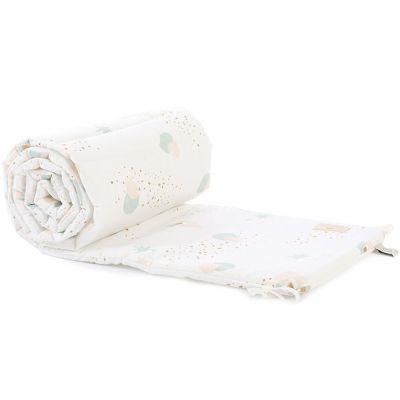 Tour de lit Nest coton bio Aqua eclipse White (pour lits 60 x 120 et 70 x 140 cm)  par Nobodinoz