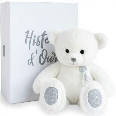 Coffret peluche ours Charms blanc (40 cm)