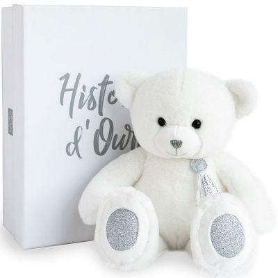 Coffret peluche ours Charms blanc (40 cm)  par Histoire d'Ours