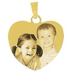 Pendentif grand coeur avec photogravure 1 à 3 visages (plaqué or)
