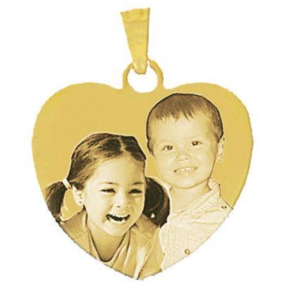 Pendentif grand coeur avec photogravure 1 à 3 visages (plaqué or)  par Louis de l'Ange