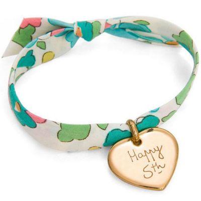 Bracelet enfant Liberty avec coeur personnalisable (plaqué or)  par Merci Maman