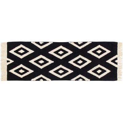 Tapis lavable diamant noir et blanc (80 x 230 cm)  par Lorena Canals