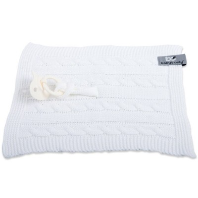 Attache sucette Cable Uni blanc  par Baby's Only