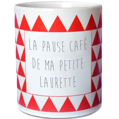 Mug triangles rouge (personnalisable) Les Griottes