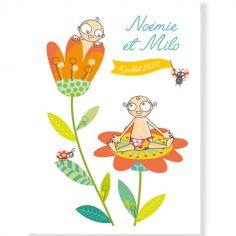 Affiche naissance jumeaux fleur personnalisable (21 x 29,7 cm)