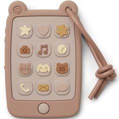 Téléphone de dentition en silicone Thomas rose