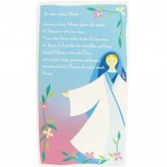 Tablette prière en bois Je Vous salue Marie bleue