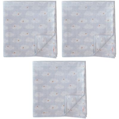 Lot de 3 langes mousseline Clouds (55 x 55 cm) Trixie