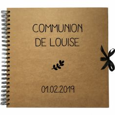 Album photo communion personnalisable kraft et noir (30 x 30 cm)