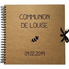 Album photo communion personnalisable kraft et noir (30 x 30 cm)