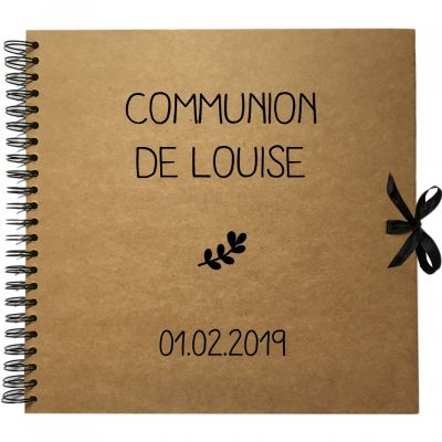 Album photo communion personnalisable kraft et noir (30 x 30 cm)  par Les Griottes