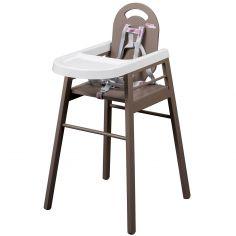 Chaise haute Lili en bois massif laqué taupe
