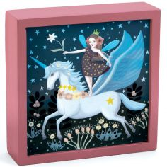 Tableau veilleuse magique Licorne féerique (14 x 14 cm)