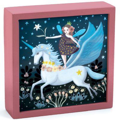Tableau veilleuse magique Licorne féerique (14 x 14 cm)  par Djeco