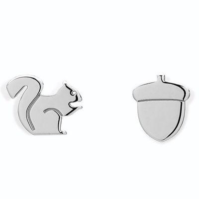 Boucles d'oreilles écureuil et noisette (argent 925°)  par Coquine