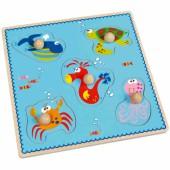 Puzzle d'encastrement à boutons Mer (5 pièces) - Scratch