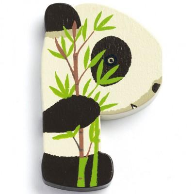 Lettre P en bois Panda Achille  par Djeco