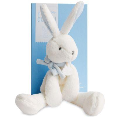 Peluche lapin chic J'aime mon doudou bleu (30 cm) Doudou et Compagnie