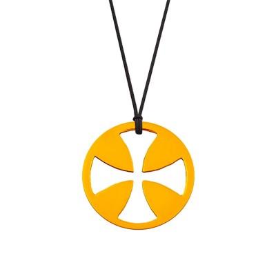 Collier cordon médaille Mini Croix égale 10 mm (or jaune 750°) Maison La Couronne