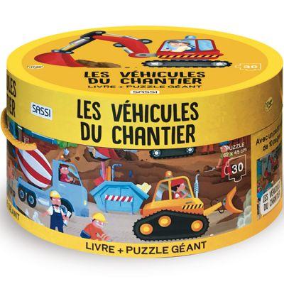 Livre et puzzle géant Les véhicules du chantier (30 pièces) Sassi Junior