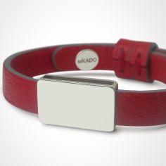Bracelet cuir Hip-Hop Cerise (argent 925° et cuir)