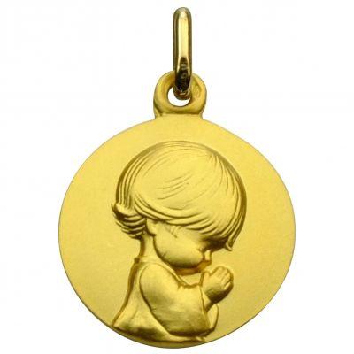 Médaille Ange agenouillé Les Loupiots 16 mm (or jaune 750°)  par A.Augis