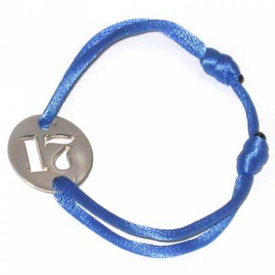 Bracelet cordon papa Lucky number rond 20 mm (argent 925°)  par Loupidou