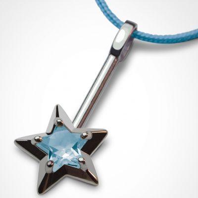 Collier cordon 'Abracadabra' Topaze bleue (or blanc 750°)  par Mikado