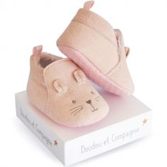 Chaussons lapin rose (0-6 mois)
