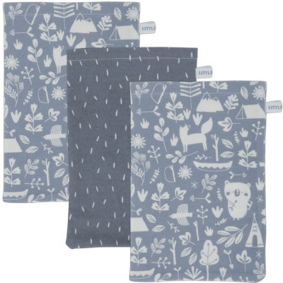 Lot de 3 gants de toilette Adventure blue  par Little Dutch