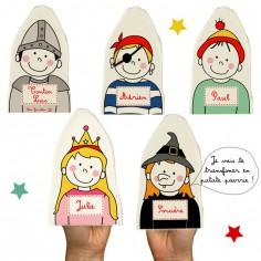 Lot de 5 marionnettes Chevalier Princesse (personnalisables)