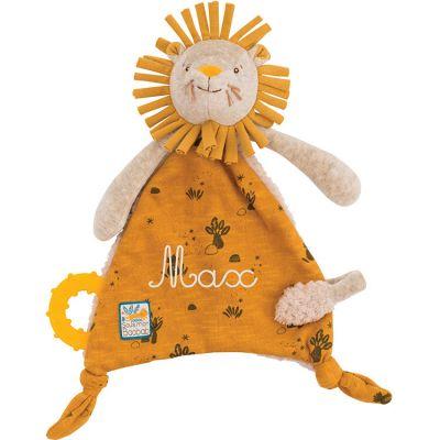 Doudou attache sucette lion Sous mon baobab (personnalisable)  par Moulin Roty
