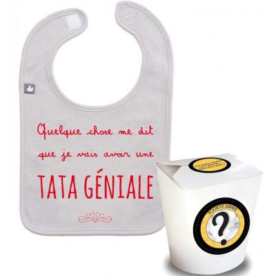 Pochette surprise annonce de grossesse bavoir Une tata géniale