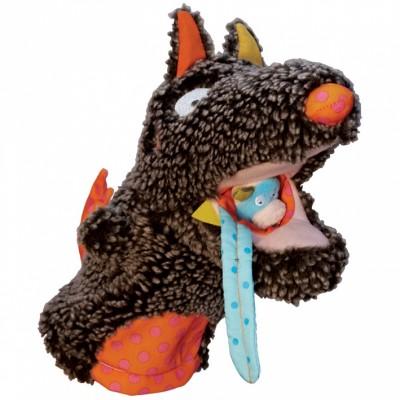 Marionnette à main Louloup et ses 3 marionnettes à doigts  par Ebulobo