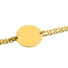 Bracelet empreinte gourmette double chaîne 14 cm (or jaune 750°)
