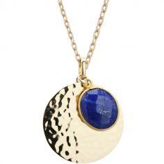 Collier médaille martelée et lapis lazuli chaîne 50 cm personnalisable (plaqué or)