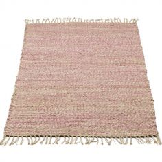 Tapis rectangulaire en jute nature et rose (90 x 180 cm)