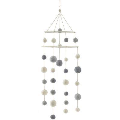 Mobile décoratif cerceau Dream boules gris  par Pehr