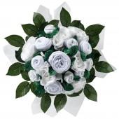 Bouquet de naissance Luxury Rose blanc (11 pièces) - BabyBlooms