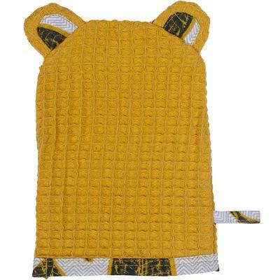 Gant de toilette ours en nid d'abeille jaune moutarde Urban wax  par BB & Co