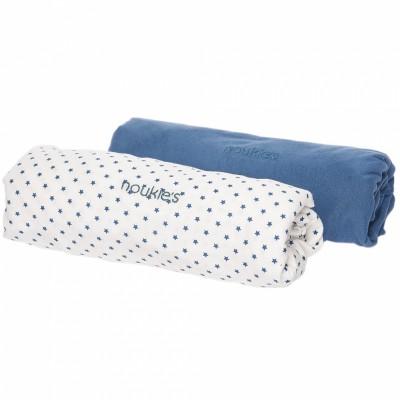 lot de 2 draps housse guss et victor bleu toiles 70 x 140 cm par noukie 39 s. Black Bedroom Furniture Sets. Home Design Ideas