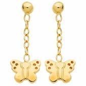 Boucles d'oreilles pendantes Papillon (or jaune 750°) - Berceau magique bijoux