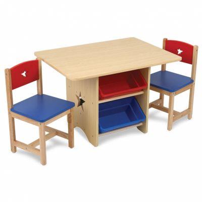 Ensemble table avec 4 bacs de rangement et 2 chaises bleu et rouge  par KidKraft